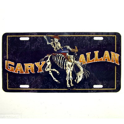Gary Allan License plate- Skeleton and Roses