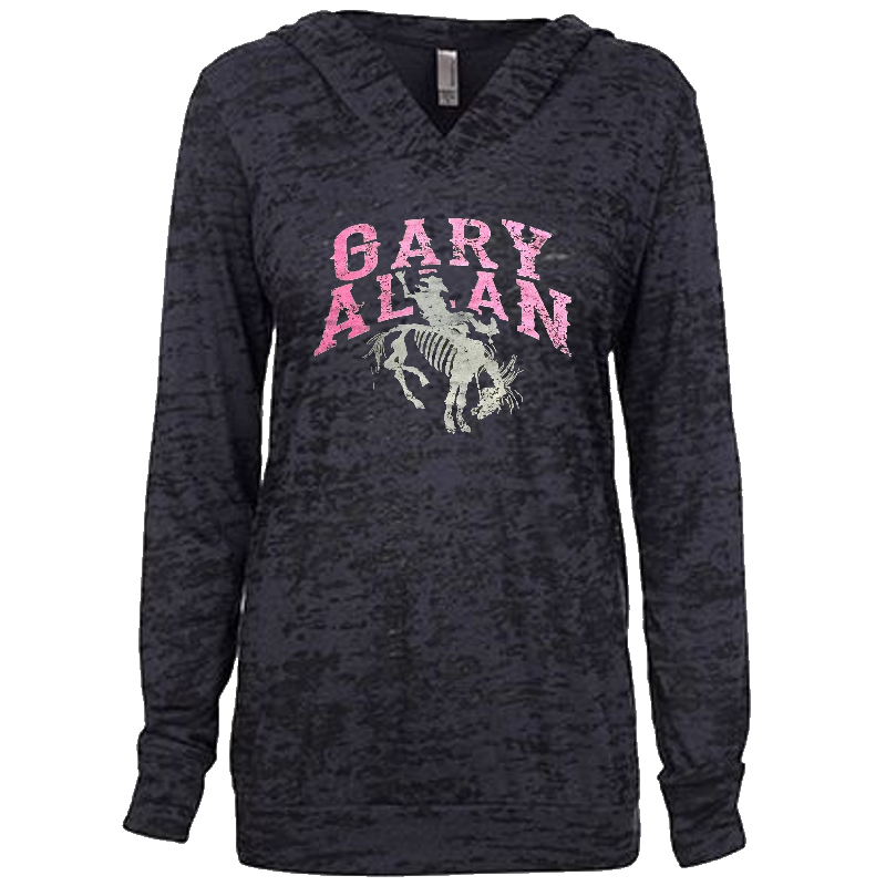 Gary Allan Ladies Black Burnout Hoodie