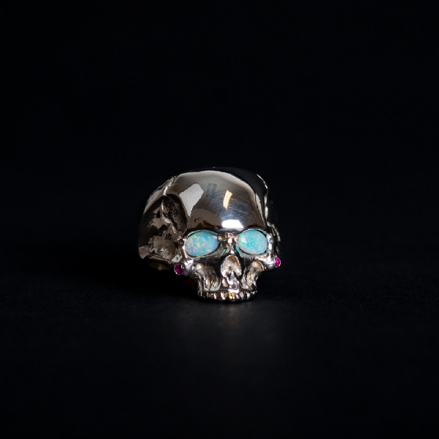 Gary Allan Ghost Eyes Sterling Silver Skull Ring