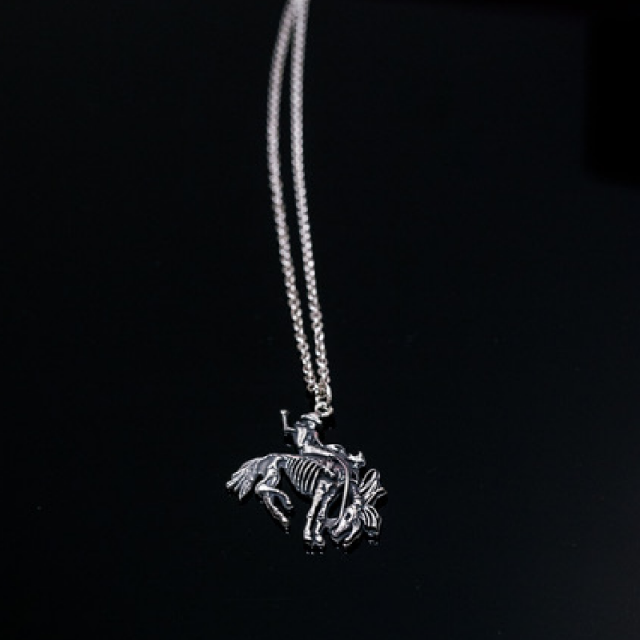 "Gary Allan Small Bucking Bronc Sterling Silver Charm w/ 20"" Chain"