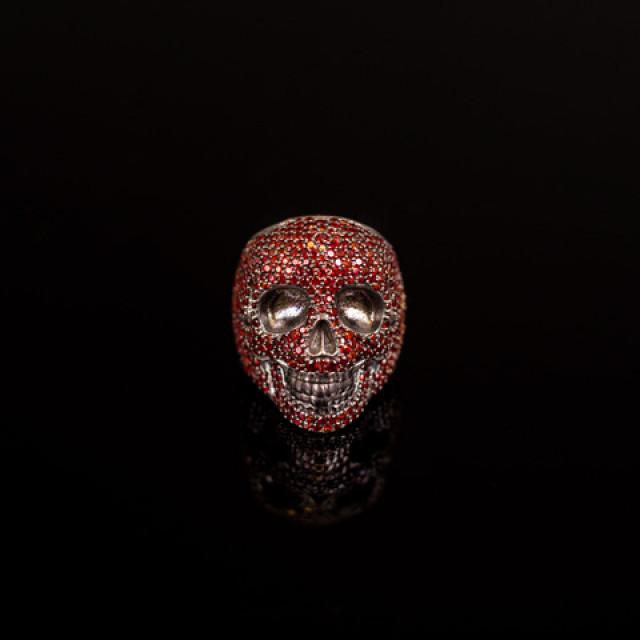 Gary Allan Garnet Skull Ring