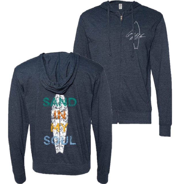 Gary Allan Heather Navy Zip Up Hoodie