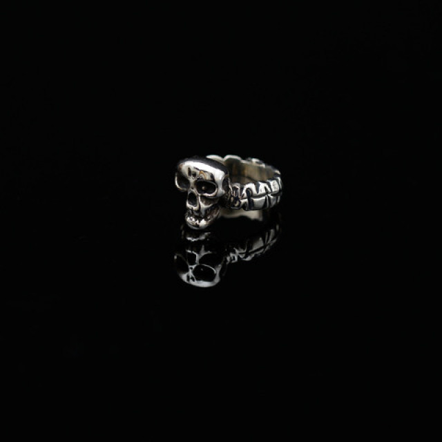 Gary Allan Polished Silver Skull Ring